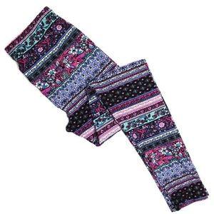 Pants - Pink & Mint Patterned Leggings